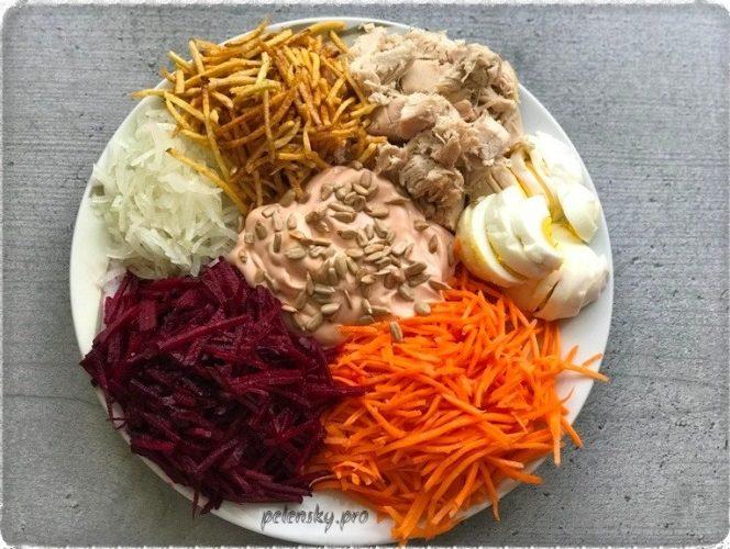 """Хрумкий, святковий салат """"Сонячні барви"""", зі столу розходиться першим."""