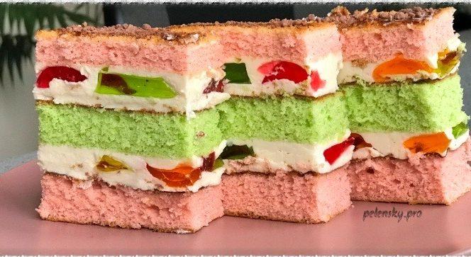 """Красивий та кольоровий торт-пляцок """"Весняна веселка"""""""