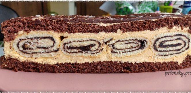"""Торт-пляцок з шоколадними рулетами """"Шоколадна тороянда""""."""