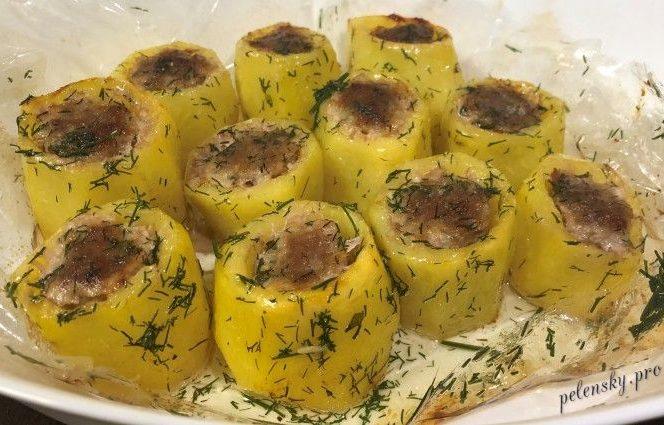 Фарширована картопля запечена в духоці. Рецепт картоплі з фаршем