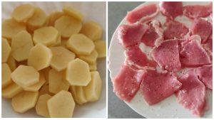 Запечена картопля з м'ясом і грибами