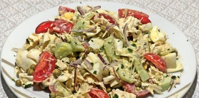 """Салат з пекінською капустою """"Хризантема"""", рецепт швидкого салата."""