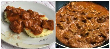 Гуляш з телятини із підливою до картоплі, гречки або рису.
