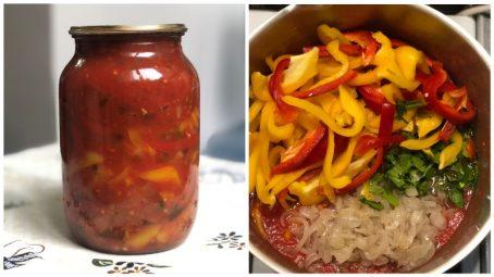Лечо на зиму з перцем, помідорами і цибулею по-угорськи.
